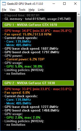GPU Shark 0.11.0 - GeForce GTX 1070 + GT 1030