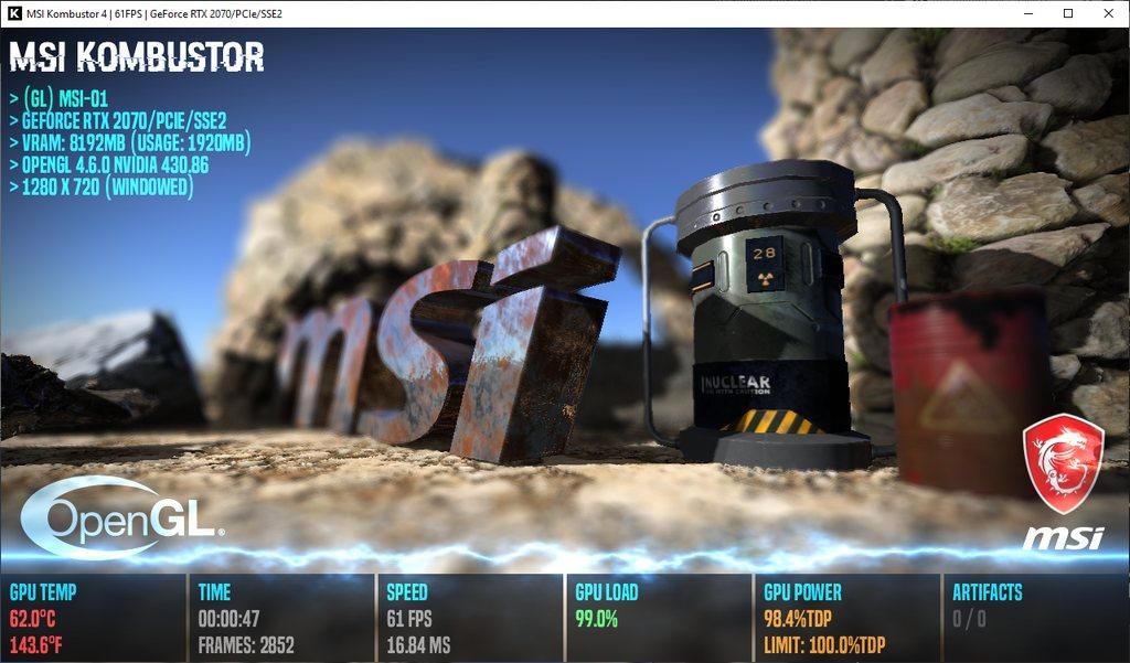 MSI Kombustor - PhysX 4 stress test