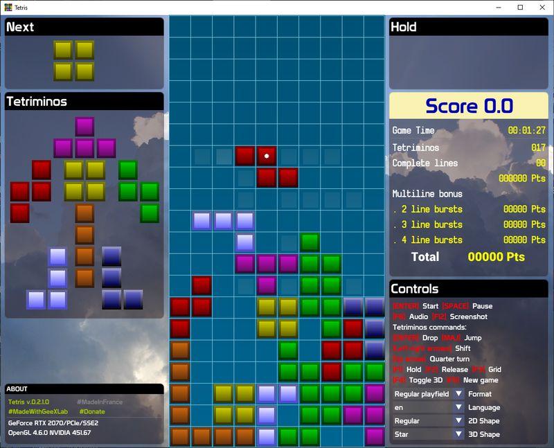 Tetris 0.2.1: the Classic Tetris Game Revisited