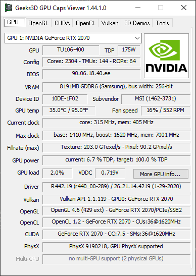 GPU Caps Viewer + RTX 2070